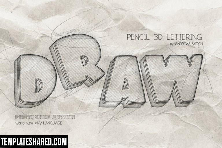Pencil 3d Lettering Photoshop Action S9b48bx 1