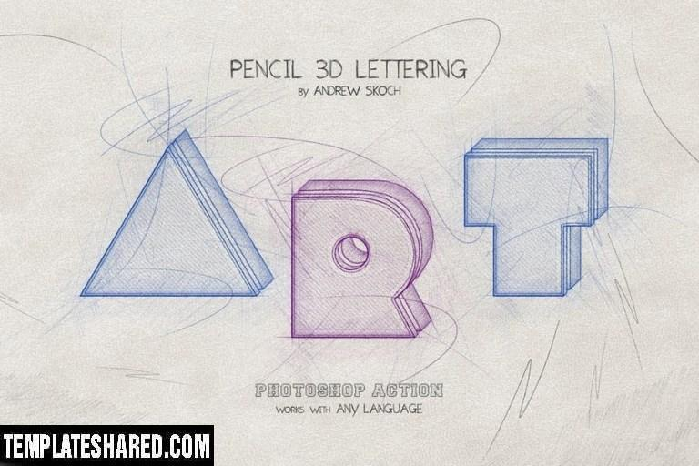 Pencil 3d Lettering Photoshop Action S9b48bx 3