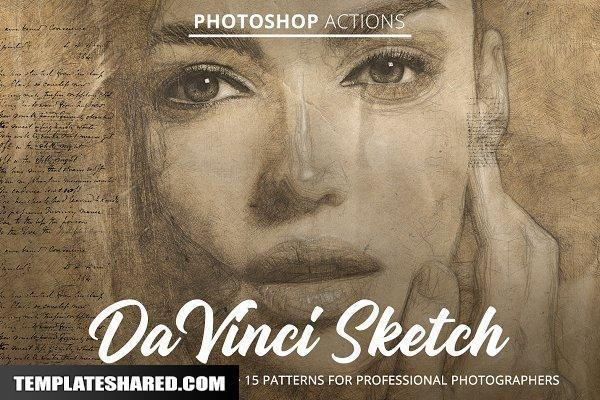 Da Vinci Sketch Action For Photoshop 4847888